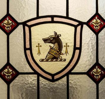 Detail d'un vitrail à l'Hôtel Mansart